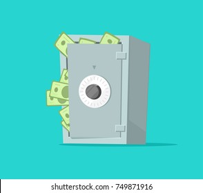 Safe deposit box full of paper money vector illustration, flat cartoon design of cash in vault, concept of wealth security or protection, financial safety, secure savings