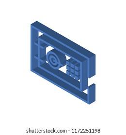 Safe deposit isometric left top view 3D icon
