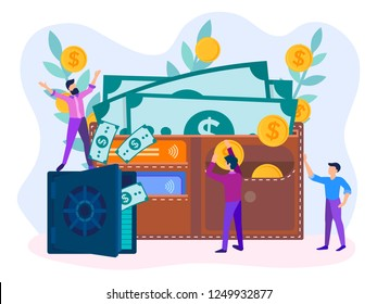Safe with dollars, wallet with banknotes, coins and credit cards. Characters of employees helping to save and accumulate money.