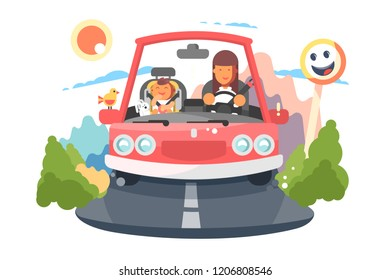 Safe driving mother with baby children car trip. Happy family traveling concept. Flat. Vector illustration.