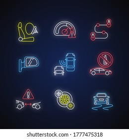 Safe driving neon light icons set. Car travel risks warning, driver precautions signs with outer glowing effect. Traffic regulations and security measures. Vector isolated RGB color illustrations