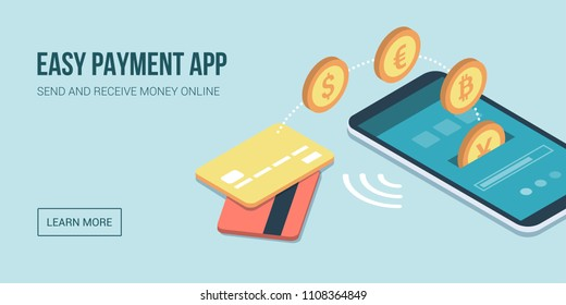 Safe and easy e-payments on smartphone using financial apps and international currencies: a user is receiving money on his smartphone