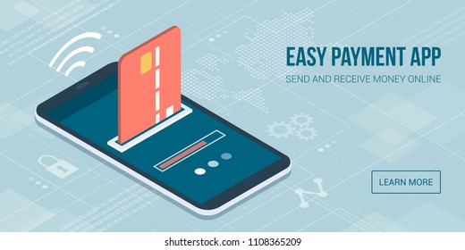 Safe and easy e-payments on smartphone using financial apps: the payment is being processed using a credit card