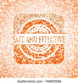 Safe and effective abstract emblem, orange mosaic background