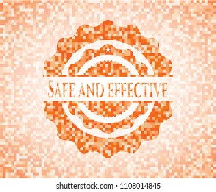 Safe and effective abstract orange mosaic emblem with background