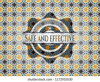 Safe and effective arabic badge. Arabesque decoration.