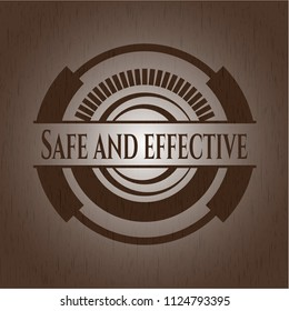Safe and effective badge with wood background