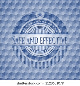 Safe and effective blue emblem or badge with geometric pattern background.