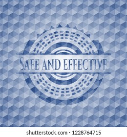 Safe and effective blue emblem or badge with abstract geometric pattern background.