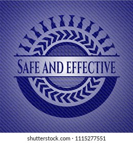 Safe and effective emblem with denim high quality background
