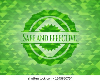 Safe and effective green emblem. Mosaic background