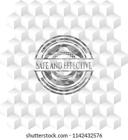 Safe and effective realistic grey emblem with cube white background