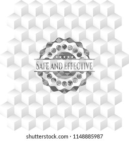 Safe and effective retro style grey emblem with geometric cube white background