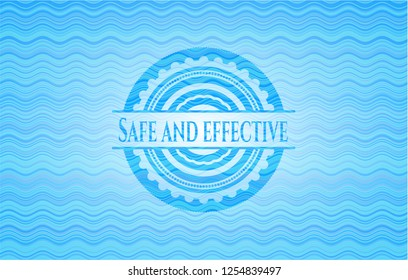Safe and effective water concept badge background.