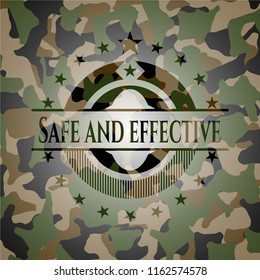 Safe and effective written on a camouflage texture