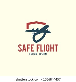 Safe flight logo template. Flying air plane logo concept. Plane logo template
