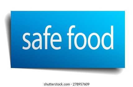 safe food blue paper sign on white background