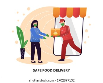 Safe food delivery. the courier delivering food order to the home of customer girl with mask and gloves during the corona virus pandemic. cartoon design vector illustration.