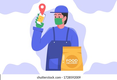 Safe food delivery. the courier delivering food order to the home with mask, and gloves during the corona virus pandemic. cartoon design vector illustration.