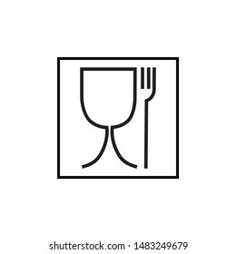 safe food icon, black outline simple vector, eps