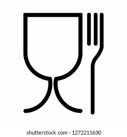 Safe food preservation sign. Glass and fork, black and white vector icon