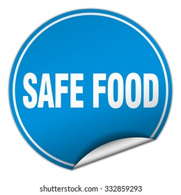 safe food round blue sticker isolated on white