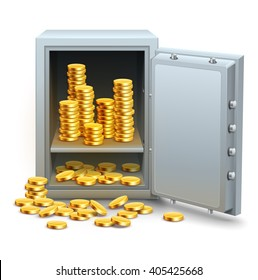 Safe full of gold coins money from open door vector illustration. Isolated white background. Golden business concept banking financial industry. Saving in place icon. Money in safe.