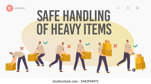 Safe Handling of Heavy Items Landing Page Template. Right and Wrong Manual Lifting of Goods. Character Carry Boxes Correctly and Improperly Way in Hands and Forklift Cartoon People Vector Illustration