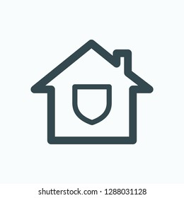 Safe house icon, home safety system vector icon