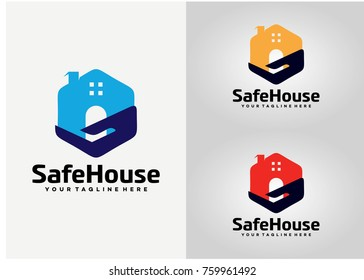 Safe House Logo Template Design. Creative Vector Emblem for Icon or Design Concept