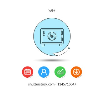 Safe icon. Money deposit sign. Combination lock symbol. Calendar, User and Business Chart, Download arrow icons. Speech bubbles with flat signs. Vector