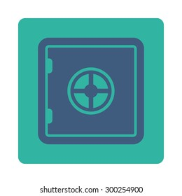 Safe icon. This flat rounded square button uses cobalt and cyan colors and isolated on a white background.