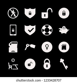 safe icon. safe vector icons set lifebuoy, memory card, lesson begining and key