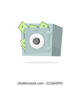 Safe money deposit box vector illustration isolated on white background, flat style money safe lock box icon