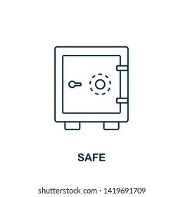 Safe outline icon. Thin line style icons from personal finance icon collection. Web design, apps, software and printing usage simple safe icon.