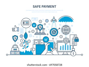 Safe payment. Methods and forms of payment. Protection of data, payments, operations, finance. Guaranteed security of investments, deposits, savings. Illustration thin line design of vector doodles.