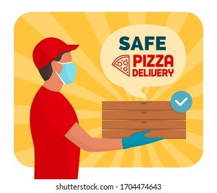 Safe pizza delivery at home during coronavirus covid-19 epidemic: delivery guy holding stacked pizza boxes, he is wearing a protective face mask and gloves