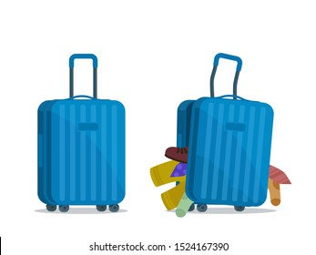 Safe plastic suitcase and damaged suitcase. Baggage, luggage in airport. Vector illustration, flat design, cartoon style. Isolated on white background.
