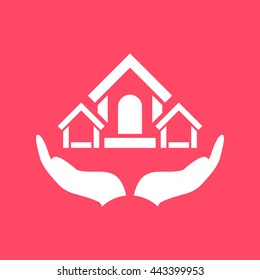 Safe & Protected home in Hand white icon on magenta color background. Eps-10.