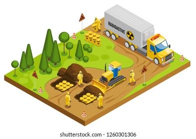 Safe radioactive toxic waste management storage transportation and disposal in underground geological repository isometric composition vector illustration