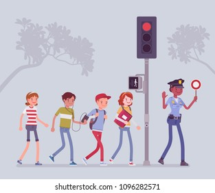 Safe road crossing. Policewoman teaching and helping children to avoid street danger or risk, walking pedestrians look for traffic and follow semaphore signal. Vector flat style cartoon illustration