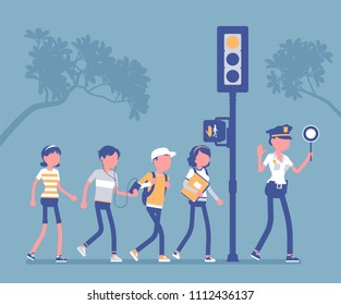 Safe road crossing. Policewoman teaching and helping children to avoid street danger or risk, walking pedestrians look for traffic and follow semaphore signal. Vector illustration, faceless characters