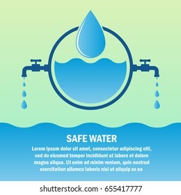 safe / save water concept with text space for your slogan / tagline, vector illustration