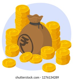 Safe and secure Indian Rupee investments. Stack of gold coins and bag of money and business protection vector concept.