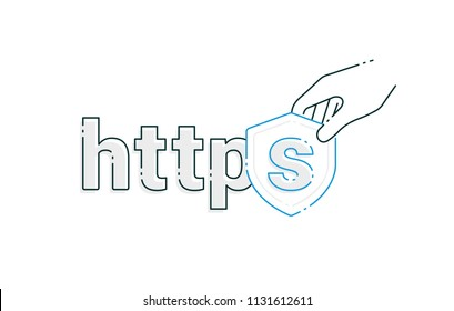 Safe and Secure Web sites on the Internet. HTTPS Protocol. SSL certificate for the site. Advantage TLS. Vector illustration. Secure, Data protection and internet security. Website