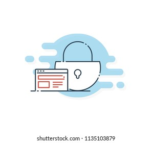 Safe and Secure Web sites on the Internet. HTTPS Protocol. SSL certificate for the site. Advantage TLS. Vector illustration.