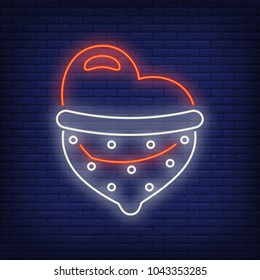 Safe sex neon sign. Heart in dotted condom. Night bright advertisement. Vector illustration in neon style for sex shop and erotic entertainment