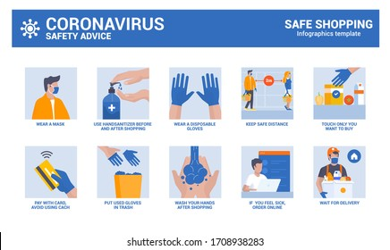 Safe shopping during coronavirus epidemic. Safety advice infographics. Vector Illustration