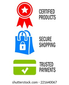 Safe shopping icons