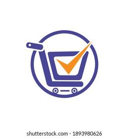 Safe shopping vector logo design template. Trusted choice shopping cart logo icon design.